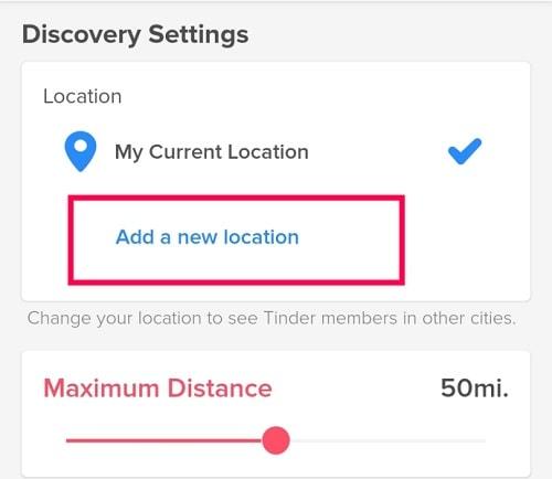Add Location on Tinder
