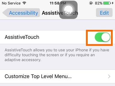 activating assistive touch in iPhone