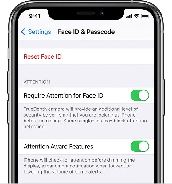 turning off attention aware feature in iPhone