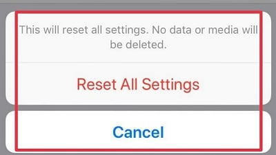resetting device settings in iPhone