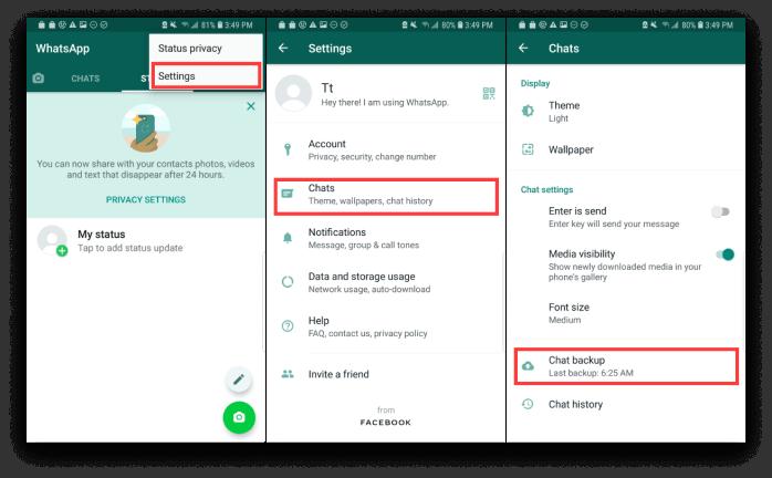 use o google drive para transferir whatsapp