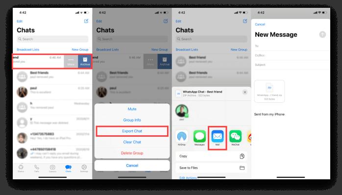 Verwenden Sie E-Mail, um WhatsApp Chat-Verläufe zu übertragen