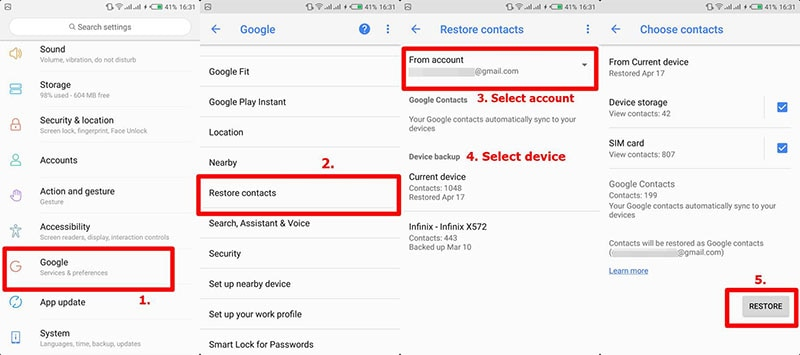 restore contacts from google backup