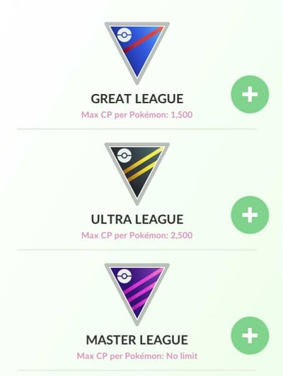 cp levels pokemon leagues