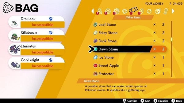 pokemon using dawn stone