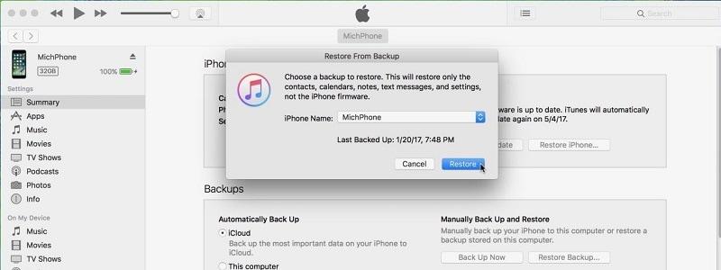 iTunes-Backup zum Wiederherstellen auswählen