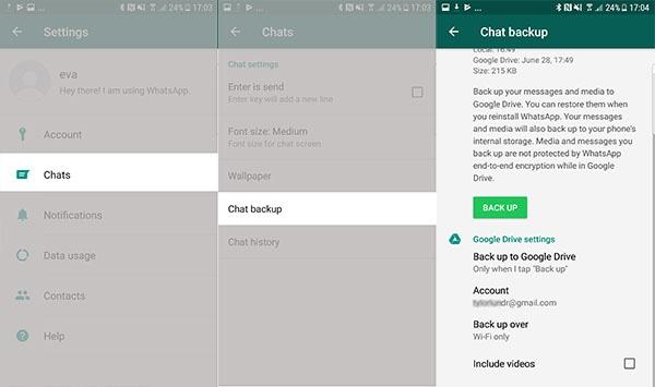 Android WhatsApp Backup Settings