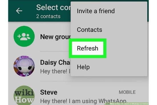 refreshing whatsapp contact
