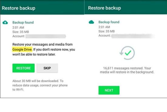 restore whatsapp gb to new device