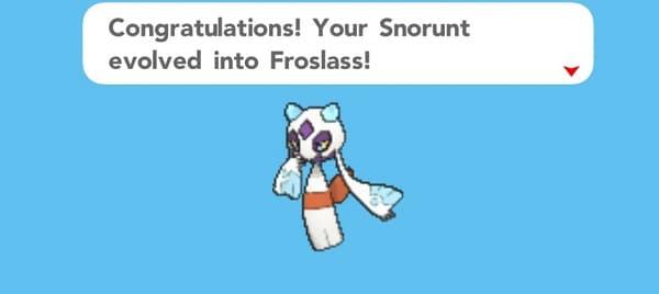 snorunt evolved into froslass
