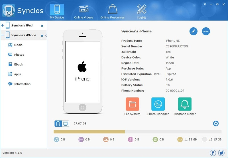 syncios iphone manager