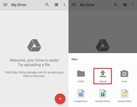 Google Drive hochladen