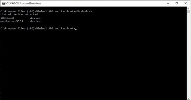 Minimal adb and fastboot command window adb devices command