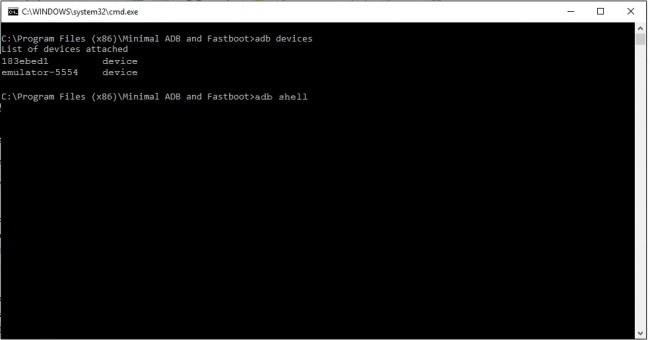 Minimal adb and fastboot adb shell command