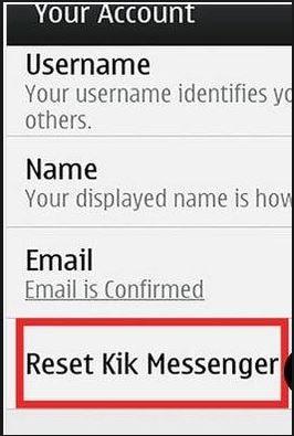 reset Kik Messenger