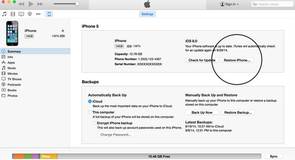 how to reset iphone 5
