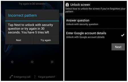 recover forgetten pattern android