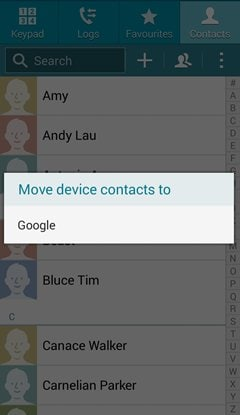 samsung move contacts to google