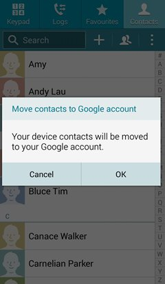 samsung move contacts to google account