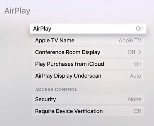 set-up airplay op apple tv