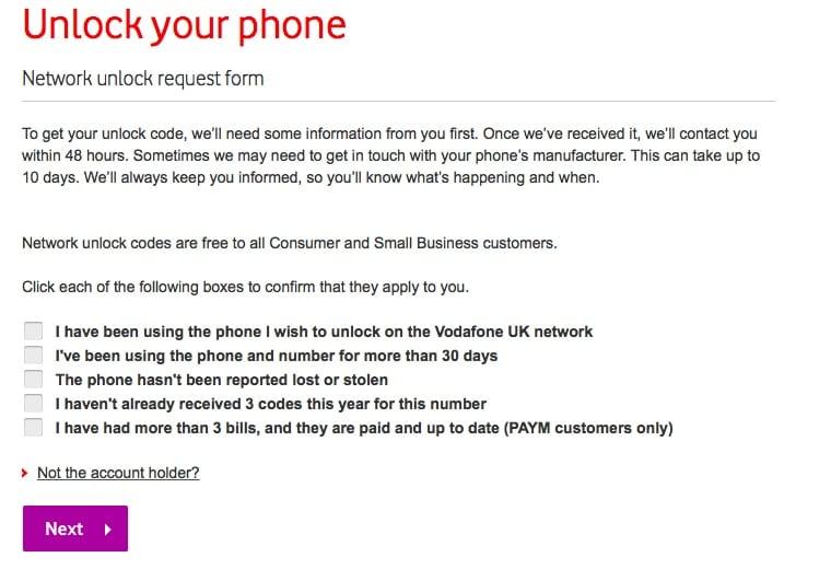 Vodafone-Telefon entsperren