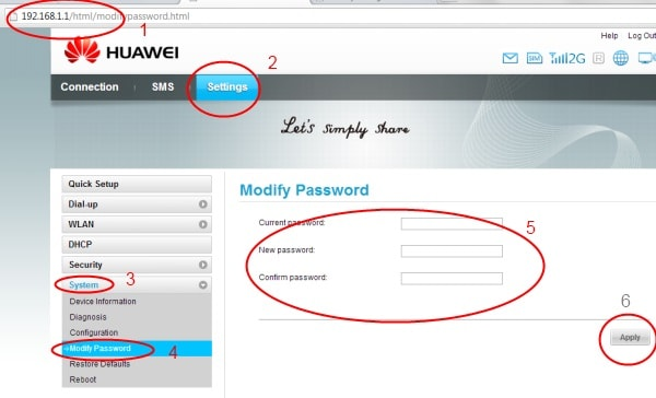 change huawei wifi password