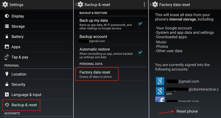 factory reset lg from settings