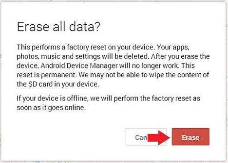 reset samsung tablet - confirm erasing