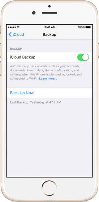 backup iPhone through iCloud