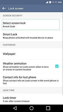 setup knock code on lg g4
