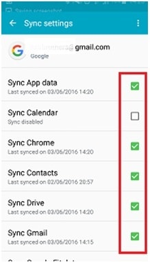 backup samsung s4 - select data type
