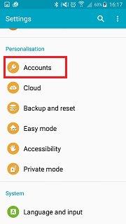 samsung account backup - choose accounts