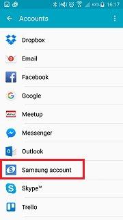 samsung account backup - select samsung account