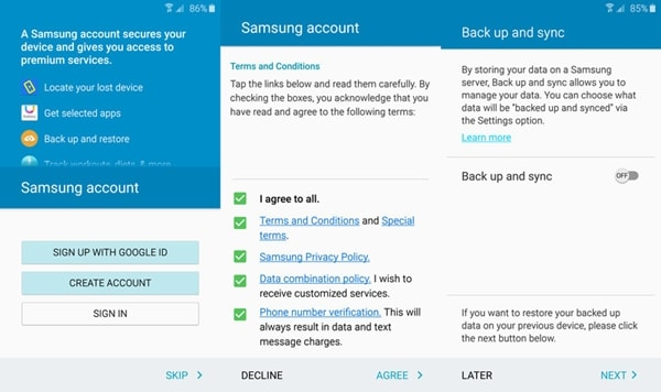 backup samsung phone to samsung account - step 1
