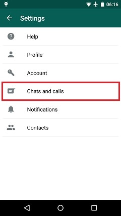 select chat and calls