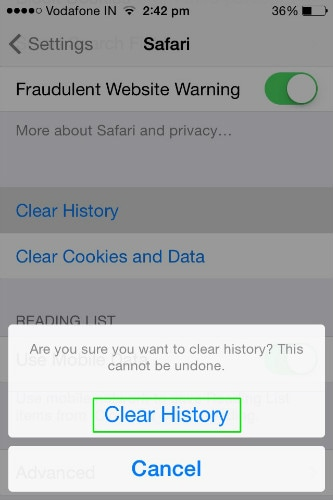 confirm clear history