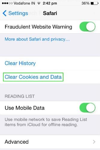 cancellare cookie e dati