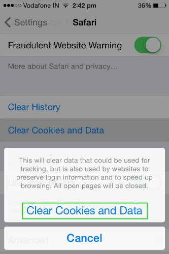 confirm clearing cookies and data