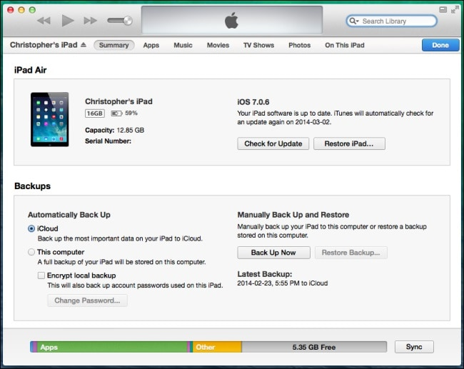 backup in itunes