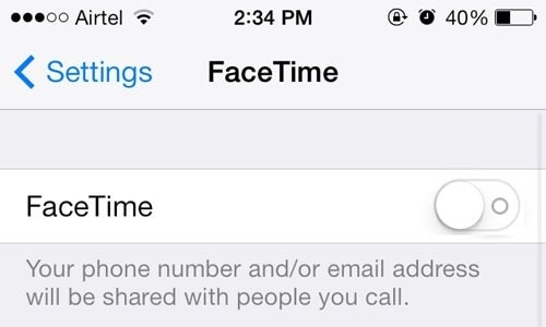 turn off facetime