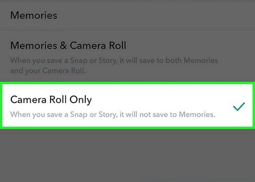 save snapchat to camera roll