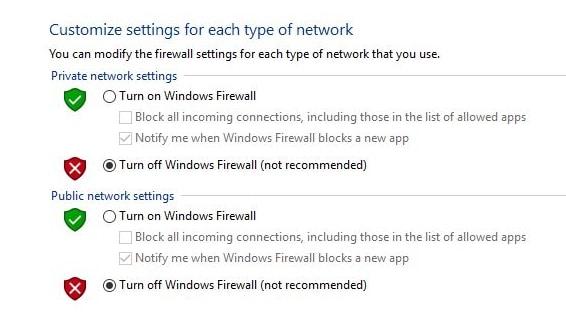 turn off firewall