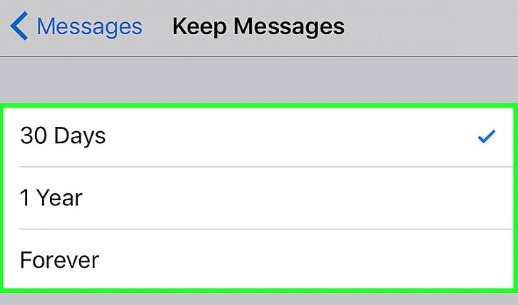 how to free up storage on iphone-message settings