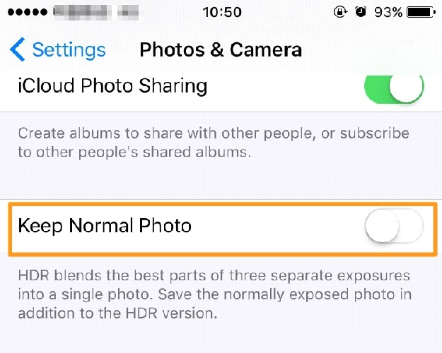 how to free up storage on iphone-save hdr photos only