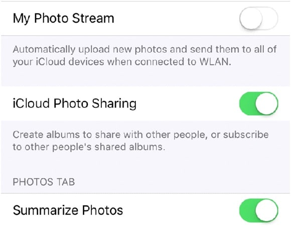 how to free up storage on iphone-disable photo stream