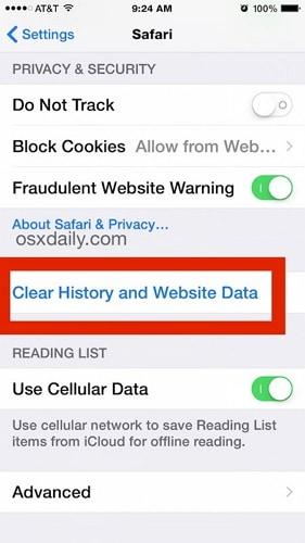 Löschen Sie den Safari-Browserverlauf