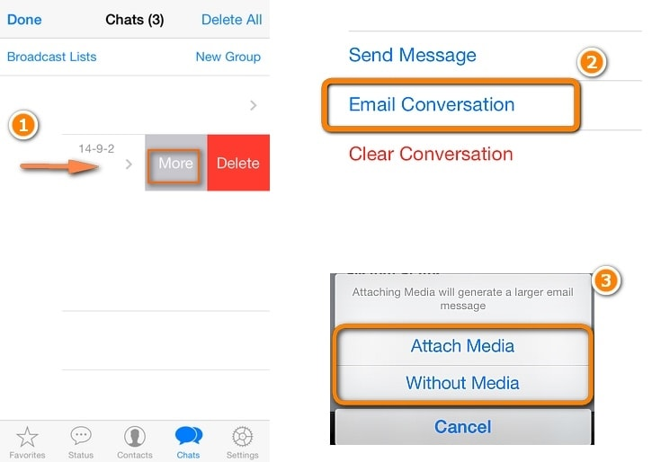 Whatsapp from iPhone to iPhone -Email