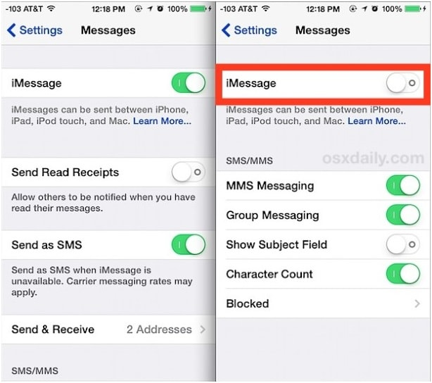"switch off ""iMessage"""