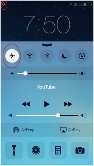 tap on the plane icon