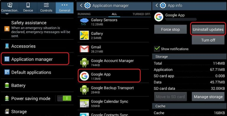 "android system ui-tap on ""Uninstall Updates"""
